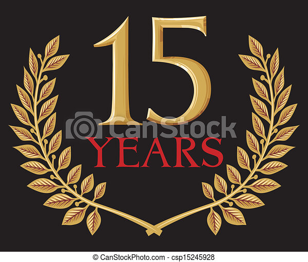 golden laurel wreath 15 years  - csp15245928