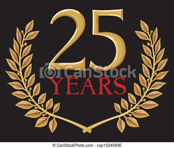 golden laurel wreath 25 years - csp15245936
