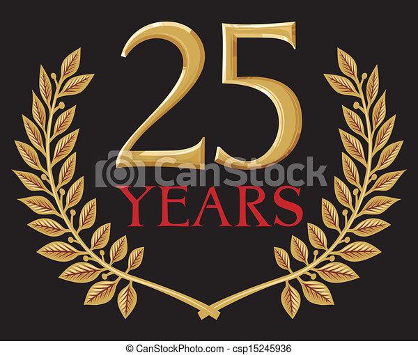 golden laurel wreath 25 years - csp15245936