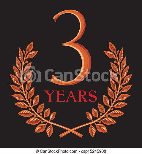 golden laurel wreath 3 years - csp15245908