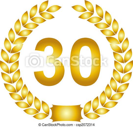 golden laurel wreath 30 years - csp2072314