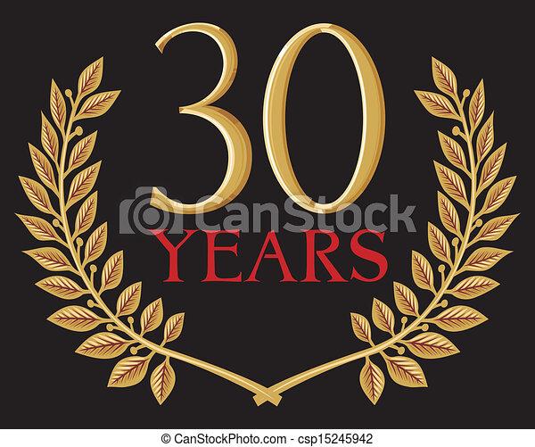 golden laurel wreath 30 years - csp15245942