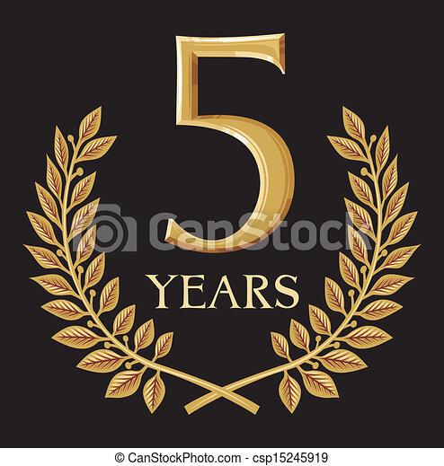 Golden Laurel Wreath 5 Year Year Anniversary Year Jubilee