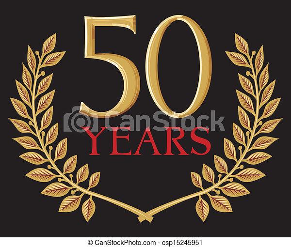 golden laurel wreath 50 years - csp15245951
