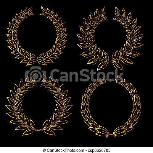 Golden laurel wreaths - csp8628785