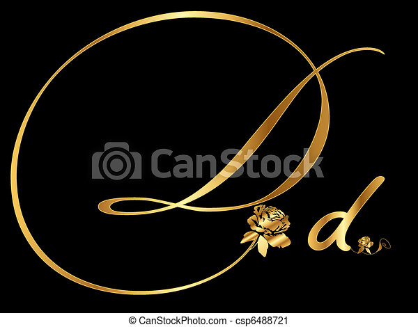 Golden letter d vector with rose golden letter d csp6488721 altavistaventures Image collections
