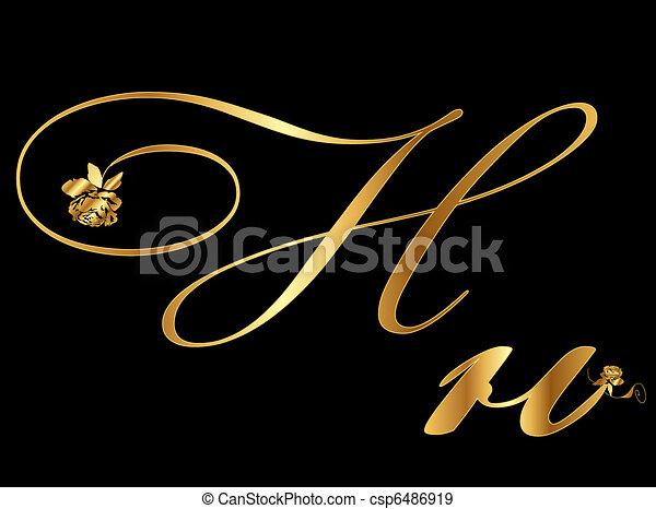 9d82d2e451ca Golden letter H - csp6486919