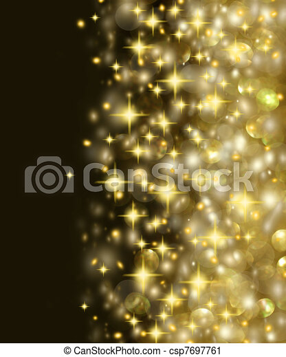Golden Lights and Stars Background - csp7697761
