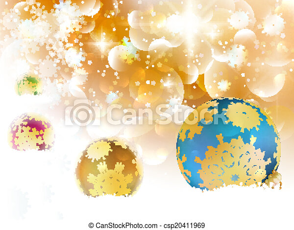 Golden Lights and Stars Christmas Background. - csp20411969