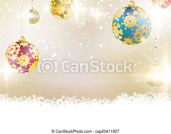 Golden Lights and Stars Christmas Background. - csp20411927