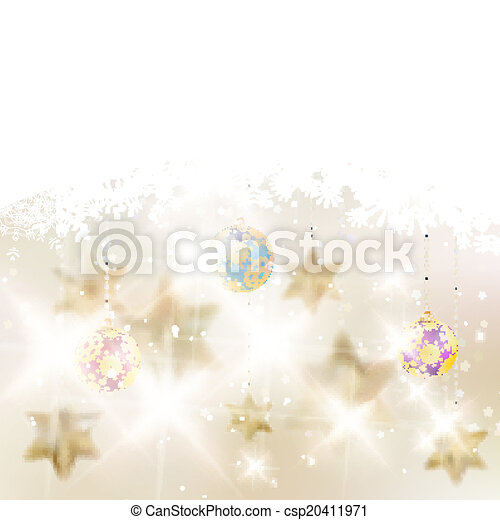 Golden Lights and Stars Christmas Background. - csp20411971