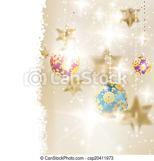Golden Lights and Stars Christmas Background. - csp20411973