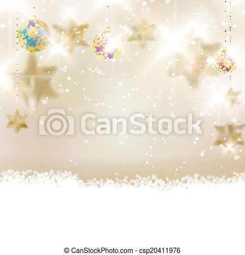 Golden Lights and Stars Christmas Background. - csp20411976