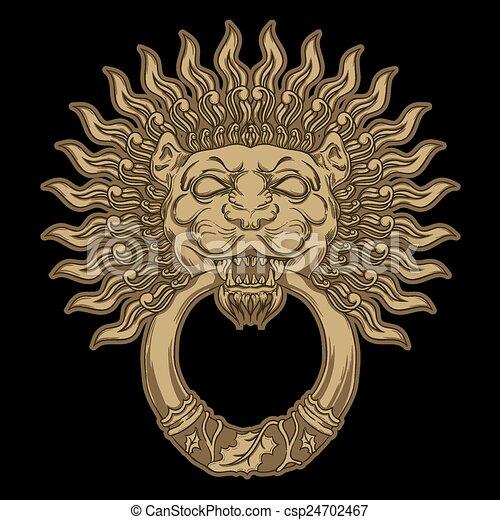 Golden lion head on black background. door knocker. hand... clip art ...