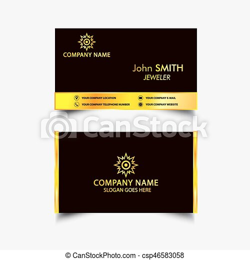 Golden luxury business card golden luxury jeweler business card golden luxury business card csp46583058 reheart Images