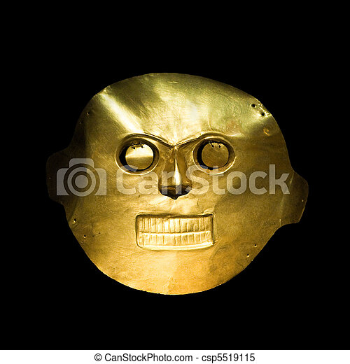 Golden mask in the Gold Museum, Bogota, Colombia - csp5519115