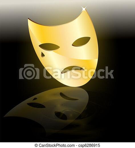 golden mask of tragedy - csp6286915