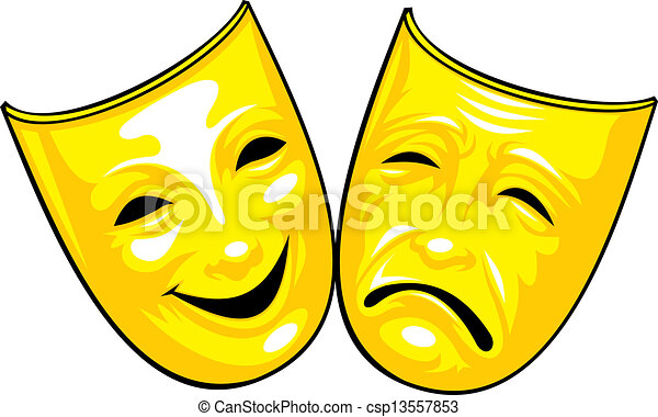 golden masks from theatre isolated on the white background clipart rh canstockphoto com theatre clip art free theatre clip art free