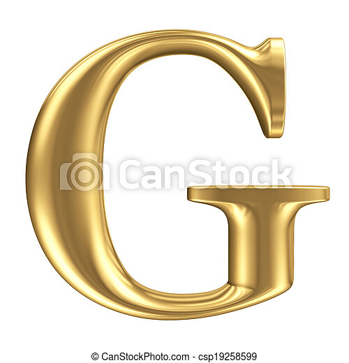 Golden matt letter G, jewellery font collection - csp19258599