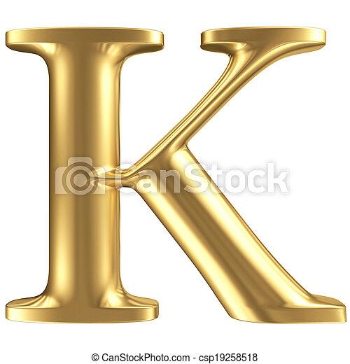 Golden matt letter K, jewellery font collection - csp19258518