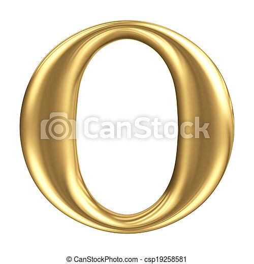 Golden matt letter O, jewellery font collection - csp19258581