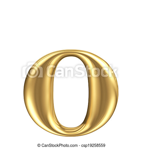 Golden matt lowercase letter o, jewellery font collection - csp19258559