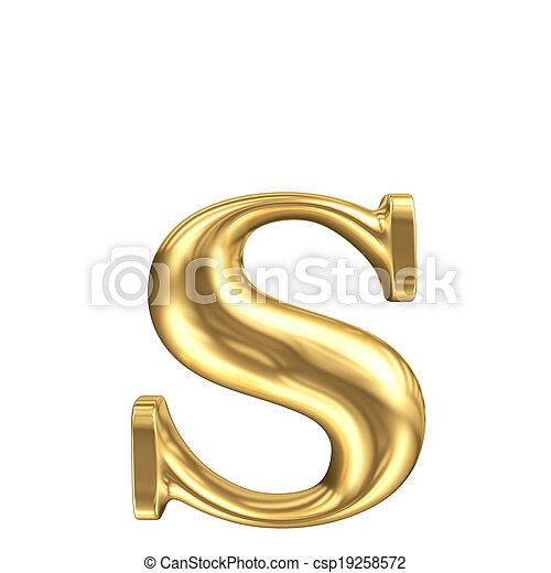Golden matt lowercase letter s, jewellery font collection - csp19258572