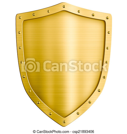 golden metal shield isolated on white - csp21893406