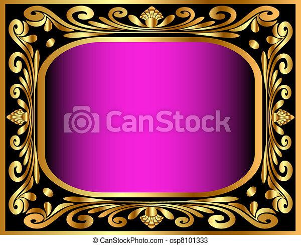 gold(en), modèle, cadre, vieux, horizontal - csp8101333