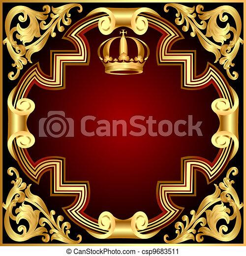 gold(en), modèle, couronne, vignette, illustration, fond, invitation - csp9683511