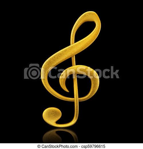 Golden musical note - 3d render - csp59796615