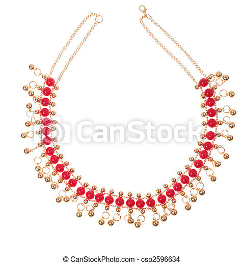 golden necklace with red gems - csp2596634