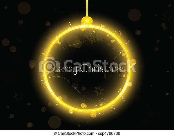 Golden Neon Christmas Ball on Black Background - csp4788788