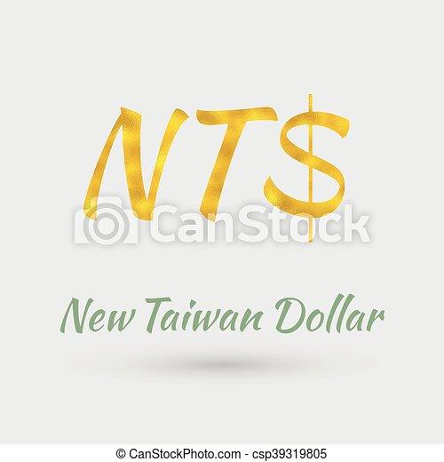 Golden New Taiwan Dollar Symbol Symbol Of The New Taiwan Dollar