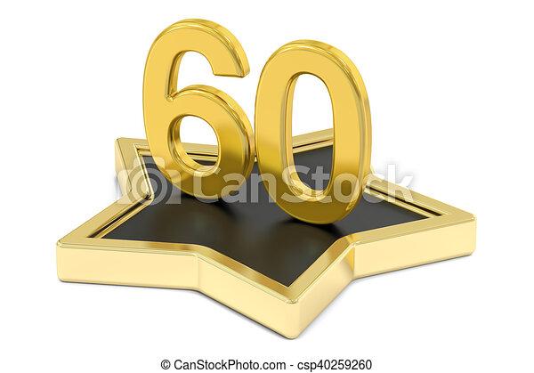 golden number 60 on star podium, award concept. 3D rendering - csp40259260