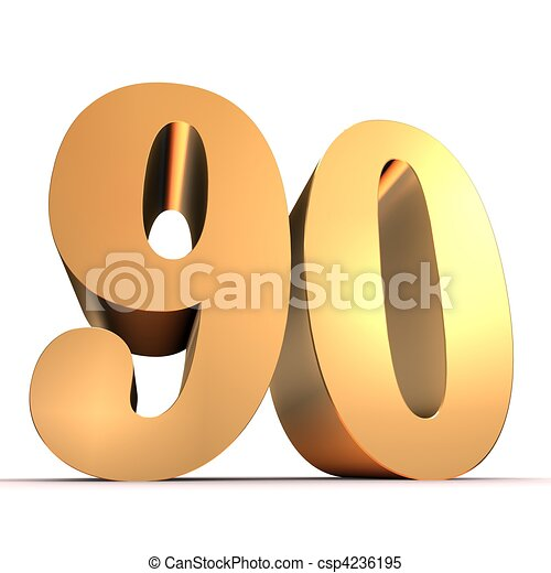 golden number 90 3d rendered illustration of an isolated golden