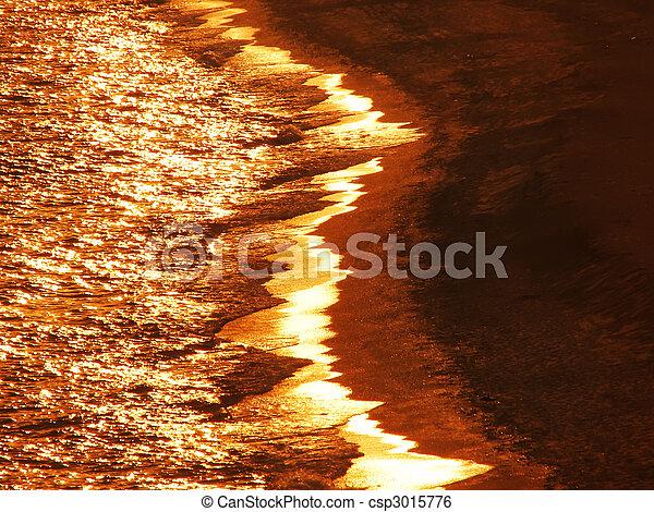 Golden ocean waves at sundown - csp3015776