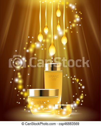 Golden Oil Cosmetic Skin Care Ads Banner Background Template Promotion Creme Gold Package Sparkles Light Brand 3d Realistic