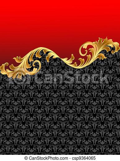 gold(en), ornement, arrière-plan rouge - csp9364065