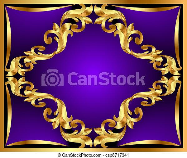 gold(en), ornement, fond, violet - csp8717341