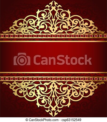 gold(en), ornement, illustration, bande, fond, rouges - csp63152549