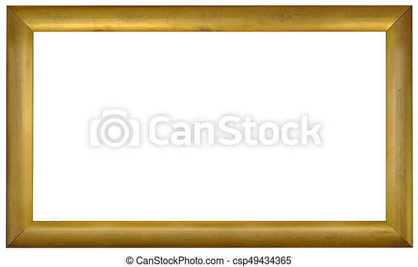Golden picture frame cutout. Simple empty panoramic golden frame ...