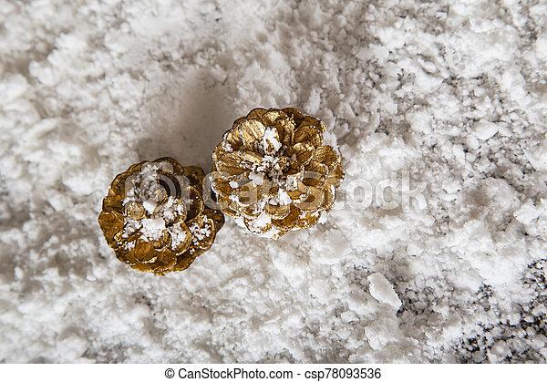 Golden pine cone in the snow - csp78093536