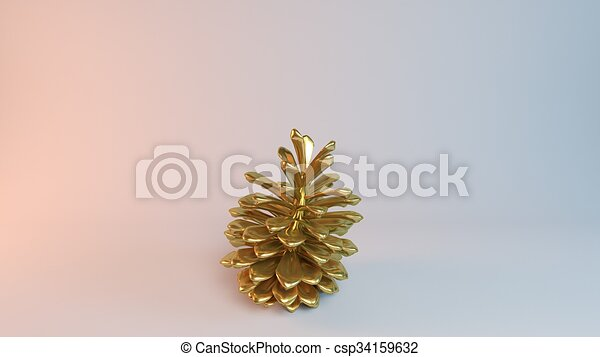 golden pine golden 3d object pine inside a white reflected stage