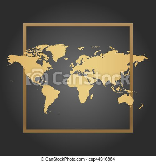 Golden political world map in black background with frame space for golden political world map in black background with frame space for text and quotes vector illustration gumiabroncs Image collections