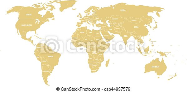 Golden political world map with country borders and white state name golden political world map with country borders and white state name labels hand drawn simplified vector illustration gumiabroncs Image collections