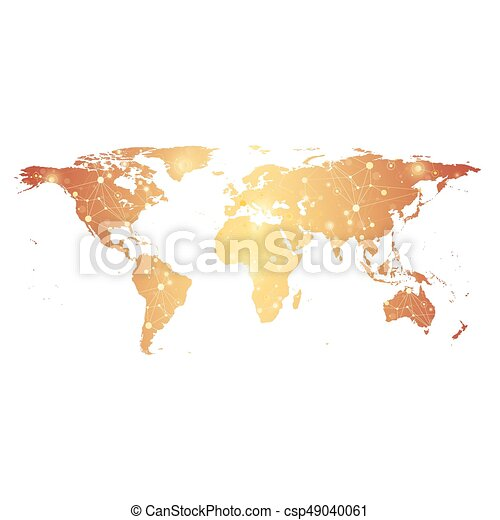 Golden Political World Map with global technology networking concept. Digital data visualization. Scientific cybernetic particle compounds. Big Data background communication. Vector illustration. - csp49040061