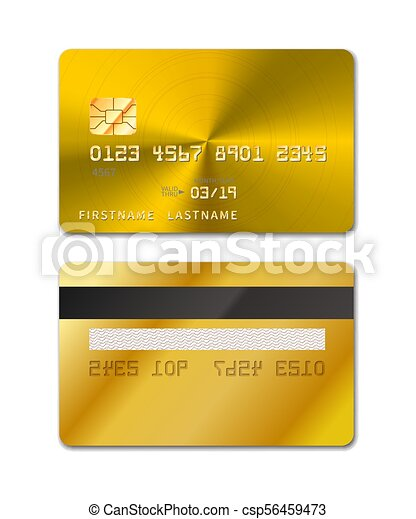 Golden realistic credit card from both sides on white