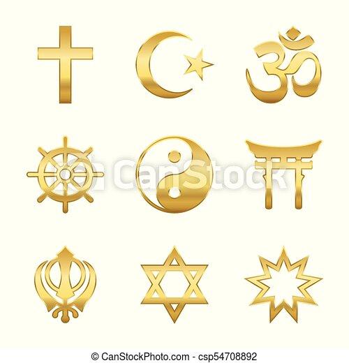 Golden Religious Symbols Golden World Religion Symbols Signs Of