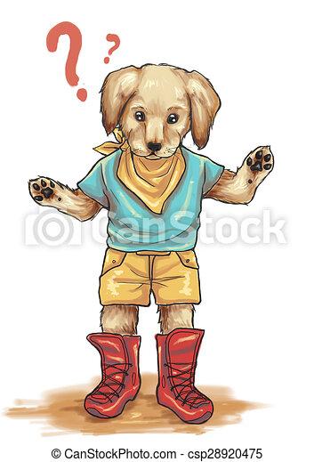 Golden Retriever Puppy A Children Illustration Character Of Curious
